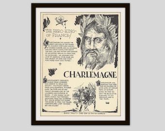 Charlemagne, Vintage Art Print, Classroom Art, History Teacher Gift, History Lovers Gift, European History, Man Cave Decor, Military History
