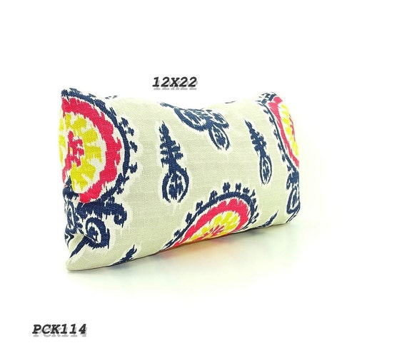 CLEARANCE SALE-Pink Ikat Pillow Long Bolster, Navy Blue Pillows Mustard Yellow ikat pillows, blue ikat pillows, gray ikat pillows