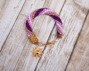 Rapunzel Tangled Inspired Beaded Bracelet with Charm Ready to Ship Disney Cosplay Disneybound Princess