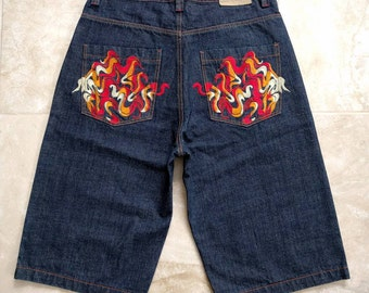 Vintage 1990s Coogi Australia Flame Embroidered Denim Jean Shorts W34 L15