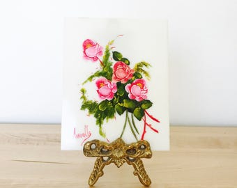Vintage art shabby roses painting with antique picture stand