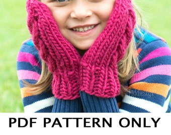 Knitting Pattern - Chunky Knitted Mittens Pattern - the AURORA Mitts (Child, Teen & Adult sizes incl'd)