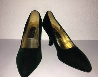 1950s style Deep Forest Green Velvet Pumps - Size 7 Green Retro Shoe - Pinup Shoe