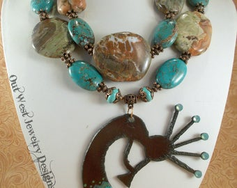 Cowgirl Necklace Set - Chunky Agate and Turquoise Howlite - Kokopelli Pendant - Southwestern