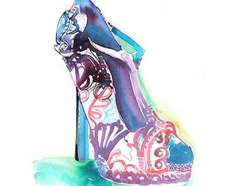 Shoe Illustration, Shoe Fashion Print, Watercolor Fashion illustration, Fashion Painting, Fashion Poster, Fashion Wall Art, Shoe Art