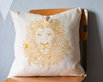 Throw Pillow - Throw Pillow Covers - Screen Printed Pillows - Pillow Case - Home Decor - Kids Room - Decorative Pillows - Nursery - Lion