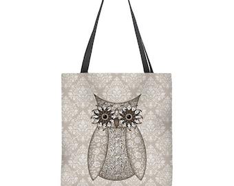Owl Tote Bag in tan, beige and brown