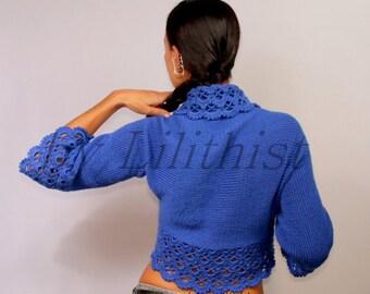 Cobalt Blue Shrug Bolero, Crochet &  Knit,  Lace Shrug, Wedding Bridal Bolero,  Azure Blue Sweater Cardigan, Winter Fashion, Knit Wear, Gift