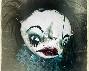 Haunted Doll Face Photograph, dark art home decor, strange gift, Gothic wall art, carnival clown, creepy portrait photography, eerie photo