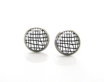 Black and White Net modern geometry design Titanium Post Earrings | Hypoallergenic Earring Stud | Titanium Stud Sensitive jewelry post
