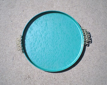 Moire' Kyes Tray -Teal Blue Atomic Ranch Serving Tray Mid-Century Modern Eames Era Glazed Round Metal