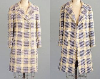 Vintage 1960's Plaid Tweed Wool Coat