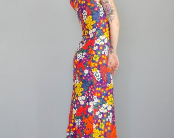 Vintage 1970s Bright Floral Halter Dress