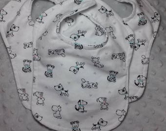Set of Three  Baby or Preemie Unisex Reversible Bibs