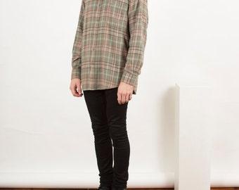 Plaid Flannel Button Up / Lumberjack Green Shirt / Cozy Mint Fall Shirt