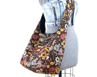 Brown Crossbody Bag for Women - Vegan Bag - Brown Hobo Bag - Hippie Bag - Gift for Vegan - Bohemian Bag - Over Shoulder Bag - Boho Bag