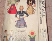 Vintage 1930s Pattern Apron For Ladies Dated 1939 Cut Complete Transfer Included Pattern #725
