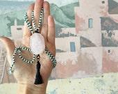 rose Quartz necklace, beaded rose Quartz tassel necklace, bohemian jewelry