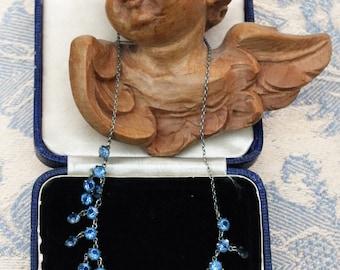 Antique Art Deco blue Crystal necklace - c1930s