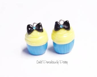 Alice Cupcake Clay Charm, Cold Porcelain Clay Cupcake Pendant, Purse Charm, Alice in Wonderland Character Cupcake /DIY Cupcake Necklace