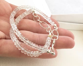Morganite Gemstone Bracelet Sterling Silver Adjustable
