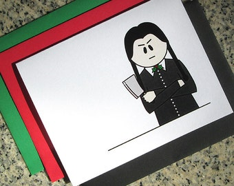 Wednesday Addams I Hate Christmas holiday cards / notecards / thank you notes (blank or custom text inside) with envelopes - set of 10
