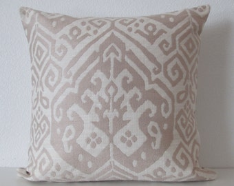 Neutral Ikat Pillow Cover
