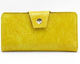 Vintage Textured Mustard Vinyl Womens Wallet