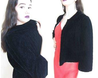 Vintage 1940s 40s Black Velvet Jacket / 40s 30s Quilted Evening Jacket
