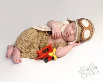 Newborn Aviator/ Pilot Photo Prop/ Airplane Newborn Prop/ Baby Shower Gift/ Baby Boy Prop/ Deal of the Day