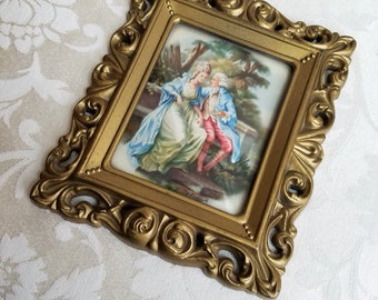 Vintage French Lovers Courting Couple Wall Art Print In Ornate Gold Frame With Convex Bubble Glass By Amsterdam Holland, Marie Antoinette