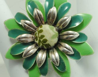 Green Flower Statement Ring/Spring/Summer Jewelry/Gift For Her/Mother's Day Gift/Adjustable/Under 20 USD