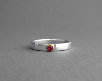 Ruby 22K Gold Silver Ring - Ruby Stacking Ring - Made To Order - Solitaire Ruby Ring - Silver Ruby Engagement Ring - Ruby Silver Gold Ring