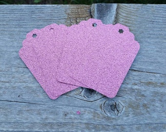 Light Pink Extra Large gift Tags: 5, 10 or 25 Pink Glitter Cardstock Gift Tags 3 inch birthday party favor - wedding bridal new baby shower