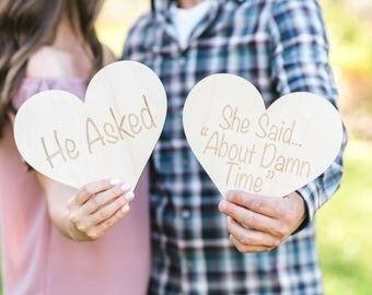 """Engagement Sign Photo Prop, Wooden Hearts """"He Asked..."""", Rustic Wood Sign Set for Save the Date Photo or Decor Ideas (Item - HAH200)"""