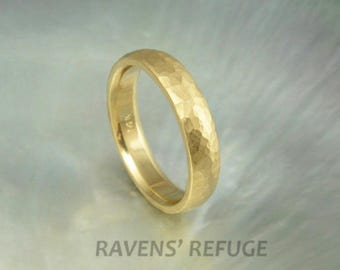 yellow gold wedding band -- 4mm half round dome ring -- hammered with satin finish -- comfort fit