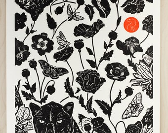 Black Leopard - Handmade Lettpress Print