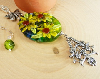 Pendant featuring Sunflower Lampwork Bead and Butterfly on Sterling Chain