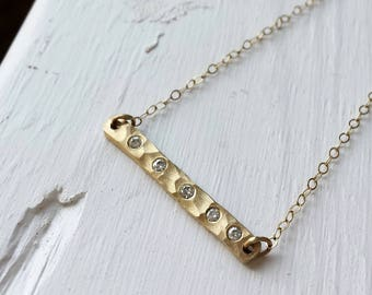 Hammered Gold Moissanite Bar Necklace - 14kt yellow gold - Rustic Bar Necklace