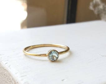 Simple Slender Aquamarine and Gold Ring - 14kt White and Yellow Gold - Minimalist, Thin, March Birthday