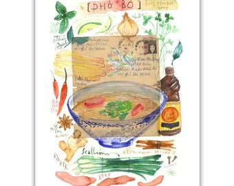 Vietnamese Pho watercolor print, Kitchen art, Pho print, Asian food poster, Illustrated recipe, Pho bowl painting, Kitchen decor, Pho art