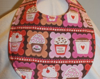 Cupcake Flannel / Terry Cloth Bib