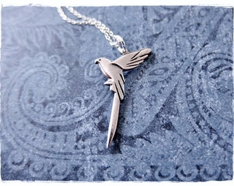Silver Parrot Necklace - Sterling Silver Parrot Charm on a Delicate Sterling Silver Cable Chain or Charm Only