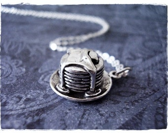 Silver Pancakes Necklace - Sterling Silver Pancakes Charm on a Delicate Sterling Silver Cable Chain or Charm Only
