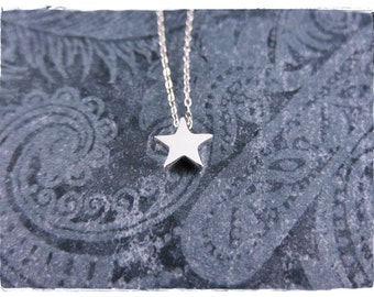 Tiny Silver Star Necklace - Sterling Silver Star Bead on a Delicate Sterling Silver Cable Chain or Bead Only
