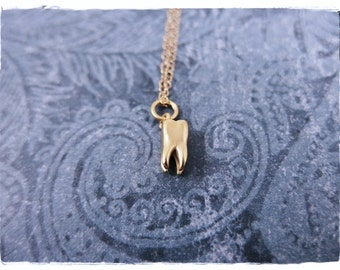 Tiny Gold Tooth Necklace - Matte 24kt Gold Plate Tooth Charm on a Delicate 14kt Gold Filled Cable Chain or Charm Only