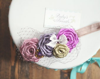 Plum Vintage Beauty - Hues of Mauve, Purple and Green Satin Rosettes Headband with Vintage Embellishment