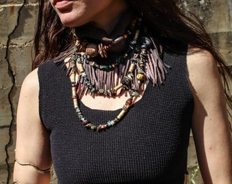 Beaded and Fringed Mini Leather Scarf