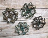 FAUCET HANDLES DISTRESSED - 4 Vintage Green Tones Jumbo Metal for Mixed Media, Steampunk Industrial Decor, Altered Art Projects