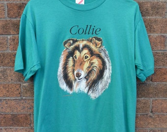 Vintage Dog T Shirt, Collie T Shirt, Teal, 90's Clothing, 90's T Shirt, Animal T Shirt, Hipster, Kawaii, Tumblr Clothing, Size Medium-Large